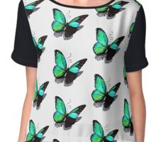 Fading Turquoise Butterfly Chiffon Top