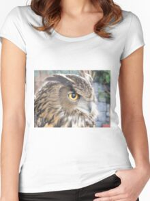 Great horned owl profile Women's Fitted Scoop T-Shirt