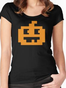 8 Bit Pixel Jack O' Lantern Pumpkin Head Women's Fitted Scoop T-Shirt