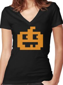 8 Bit Pixel Jack O' Lantern Pumpkin Head Women's Fitted V-Neck T-Shirt