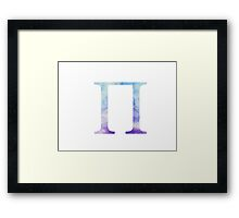 Blue Pi Watercolor Letter Framed Print