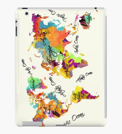 world map text color iPad Case/Skin