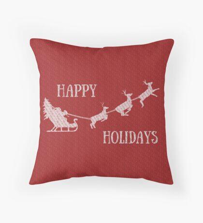 Happy Holidays Santa in Sleigh  Throw Pillow