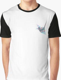 Holographic Shiny Paper Crane Design Graphic T-Shirt