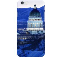 Utah Capitol and Oquirrh Mountains Winter Sunset iPhone Case/Skin