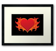 Burning heart with flames, red hot love Framed Print