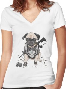 Pug Punisher Army Women's Fitted V-Neck T-Shirt