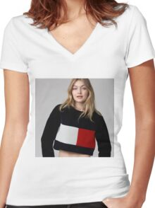 Gigi Hadid Women's Fitted V-Neck T-Shirt