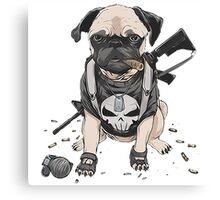 Pug Punisher Army Canvas Print