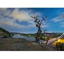 Austin Texas Images - The 360 Bridge and the Austin Skyline Under a Full Moon 3 Photographic Print