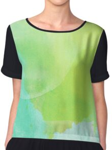 Green and Blue Watercolor Chiffon Top