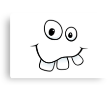 Funny, goofy face with big teeth and googly eyes Canvas Print