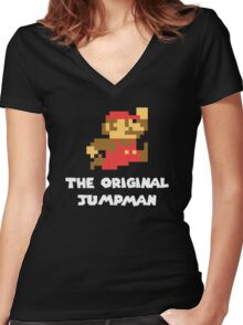 Super Mario - The Original Jumpman Women's Fitted V-Neck T-Shirt