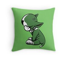 Bull Terrier Green  Throw Pillow