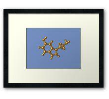 Golden Serotonin Molecule Framed Print