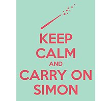 Keep Calm and Carry On Simon—Pink Text Photographic Print