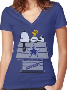 Snoopy Dallas Cowboys Fan Women's Fitted V-Neck T-Shirt