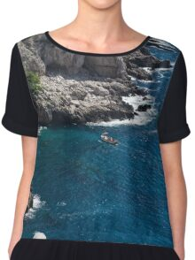 The Little Boat and the Cliff - Azure Waters Magic of Capri Chiffon Top