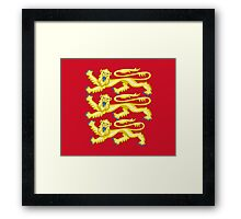 Royal Arms of England - Three Lions - British Flag Football T-Shirt Framed Print