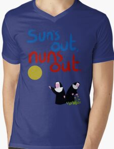 Sun's out, nuns out. Mens V-Neck T-Shirt