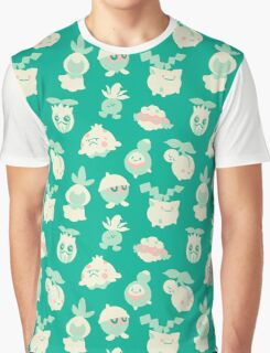 Grass Pokemon Pattern Graphic T-Shirt