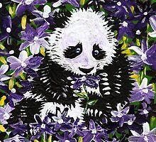Panda Cub in Purple Flowers by IanLeeOliver