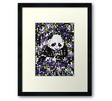 Panda Cub in Purple Flowers Framed Print