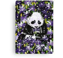 Panda Cub in Purple Flowers Canvas Print