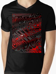 Swirls and Spots - Red Mens V-Neck T-Shirt