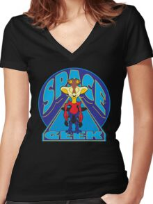 SPACE GEEK Women's Fitted V-Neck T-Shirt