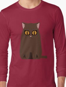 Brown Graphic Kitty Long Sleeve T-Shirt