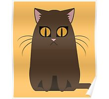 Brown Graphic Kitty Poster