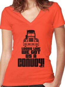 Looks Like We Got Us A Convoy! Women's Fitted V-Neck T-Shirt