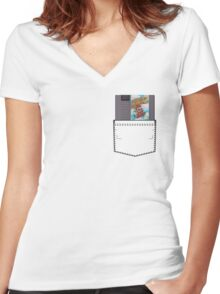 Mario 2 - NES Pocket Series Women's Fitted V-Neck T-Shirt