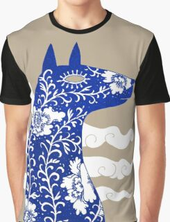 The Water Horse in Blue and White Graphic T-Shirt
