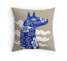 The Water Horse in Blue and White Throw Pillow