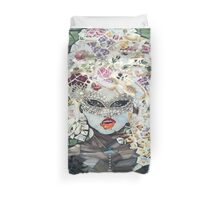 Girl with red glossy lips  Duvet Cover