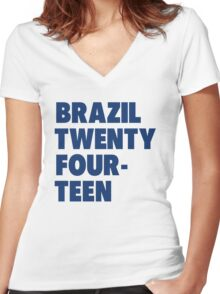 Team Brazil for the World Cup 2014 Women's Fitted V-Neck T-Shirt