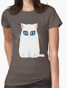 White Graphic Kitty Womens Fitted T-Shirt