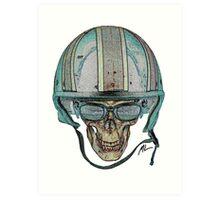 Undead Biker Skull Zombie with Glasses Art Print