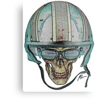 Undead Biker Skull Zombie with Glasses Metal Print