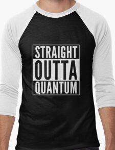 Straight Outta Quantum (white on black) Men's Baseball ¾ T-Shirt