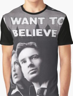 Original Charcoal Drawing of X Files I Want to Believe Graphic T-Shirt