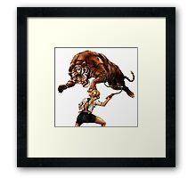 Comic Hero Malarky Jane Fights Attacking Tiger! Framed Print