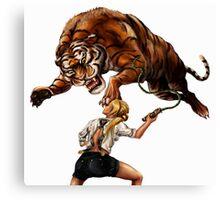 Comic Hero Malarky Jane Fights Attacking Tiger! Canvas Print