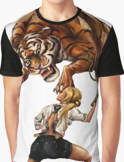 Comic Hero Malarky Jane Fights Attacking Tiger! Graphic T-Shirt