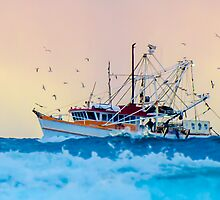 Fishing Trawler at Honeymoon Bay, Moreton Island, Australia by Ann Pinnock