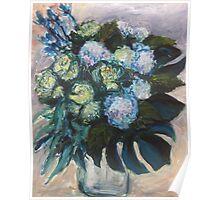 Hydrangeas & Kale Poster