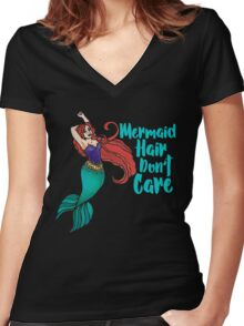 Mermaid Hair Don't Care Women's Fitted V-Neck T-Shirt