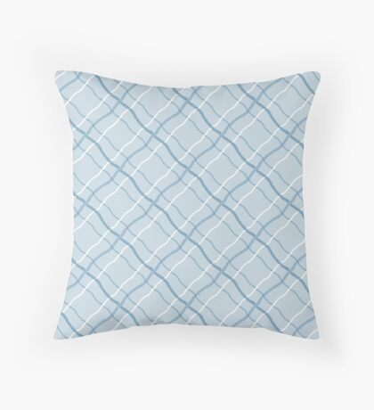 Blue Ribbon Checkered Pattern Throw Pillow